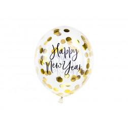 Luftballons Happy New Year Konfetti gold 3 Stück