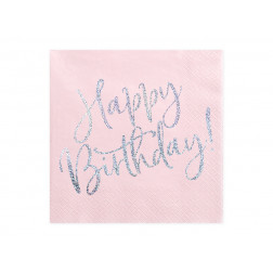 Servietten Happy Birthday Powder pink 20 Stück