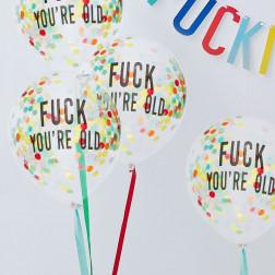 Luftballons Fuck you re old 5 Stück