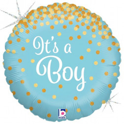 Folienballon Rund Dots It s a Boy blau gold 46cm