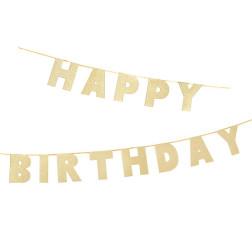 Happy Birthday Gold Banner 3m