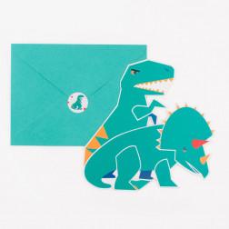 Einladungskarten Dino 8 Stück