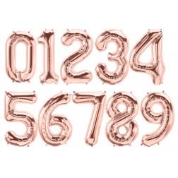 Folienballons Zahlen von 0 bis 9 Rosegold 86cm