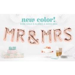 Mr & Mrs Folienballons rosegold 34cm