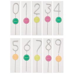 Wunderkerzen Zahlen silber 0 bis 9