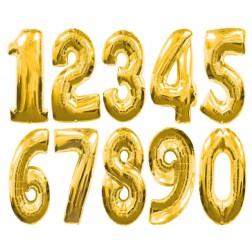 Folien Ballone - Zahlen gold von 0 bis 9
